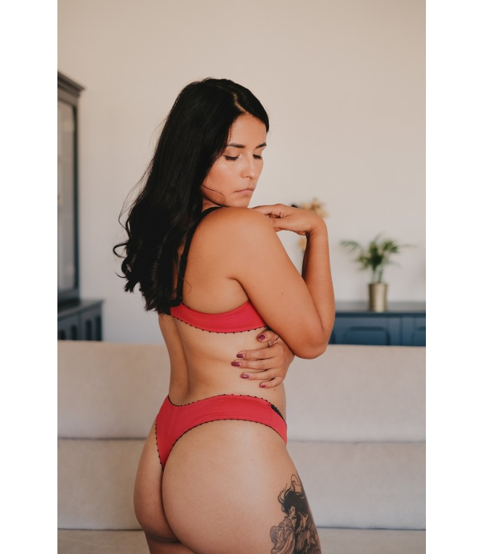 String Rouge, string coton, string soie rouge, string coton soie, string bio, string coton bio, tanga coton, tanga rouge