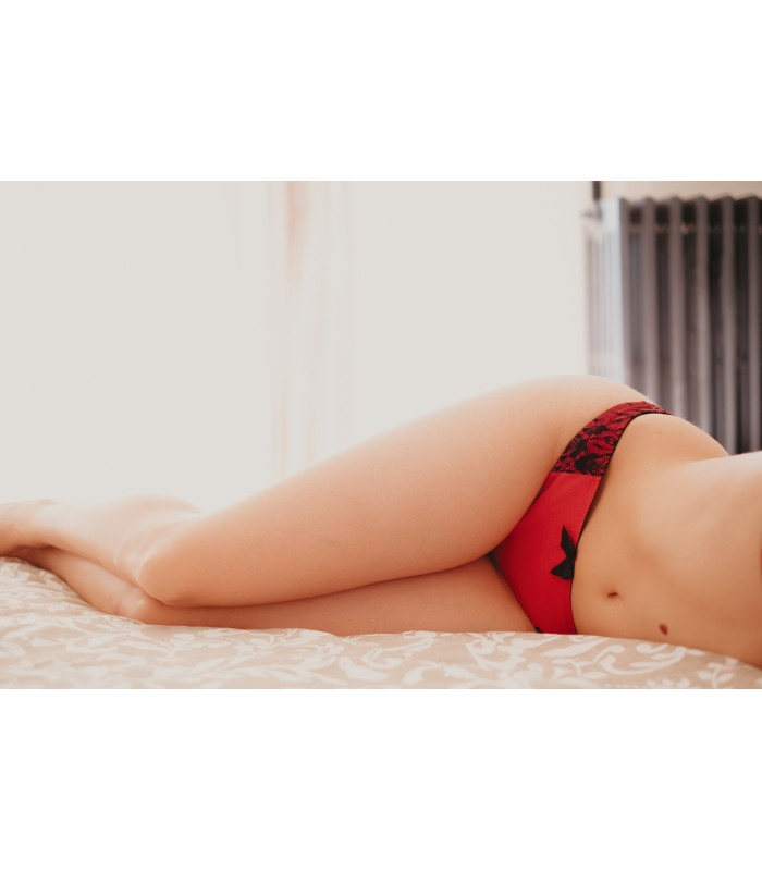 String Sublime Rouge Coton bio, string rouge, string bio, string coton, string dentelle