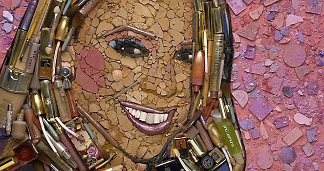 Celebrity portraits made from junk, including Mariah Carey