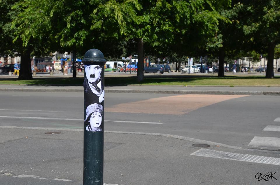 oakoak streetart artiste stephanois charlie chaplin